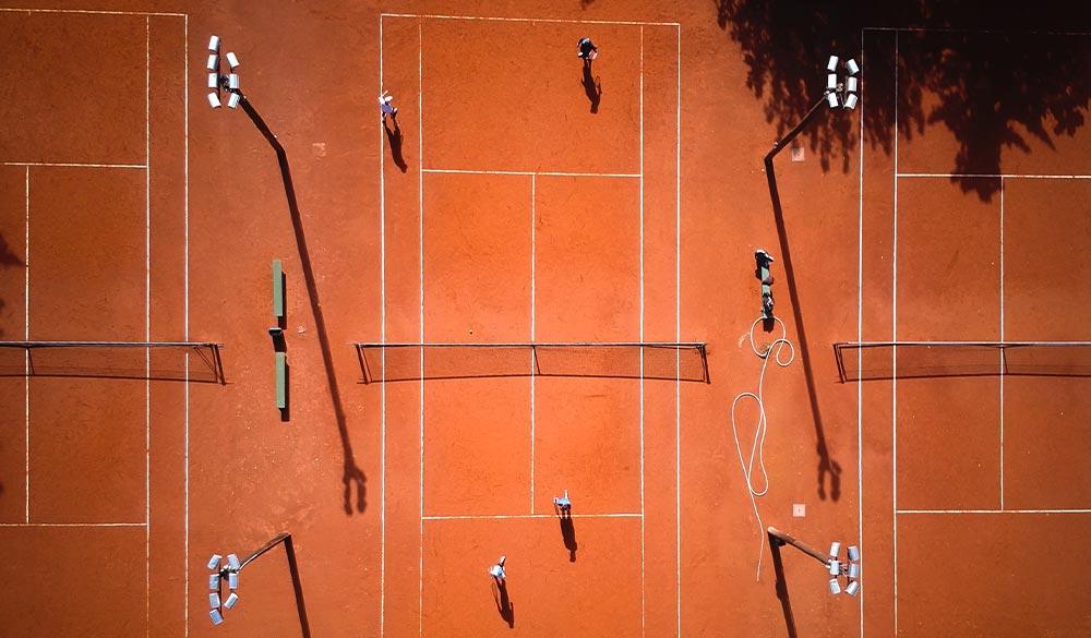 Vogelperspektive Tennisplatz
